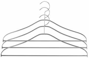 A stainless steel coat hanger with smooth shoulders and chrome plated surface