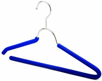 A blue foam coat hanger with an open-end shoulder