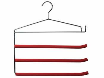 A pants hanger with three red foam coated bars