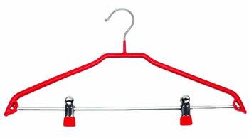A red pvc coated hanger with pvc cushion clips
