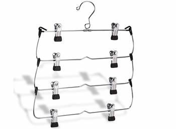 A four tiers pants hanger with chrome plated surface and PVC cushion clips