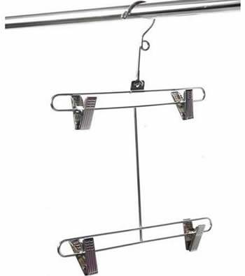 A two tiers pants hanger with a looped neck and anti-rust clips