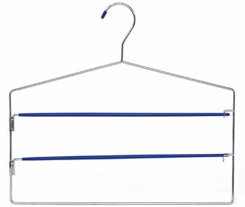 A pants hanger with polished chrome frame and two blue pvc coated bars