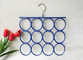 A blue pvc coated hanger with 12 holes