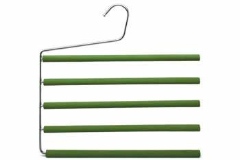 A five tiers pants hanger with green foam over its bars
