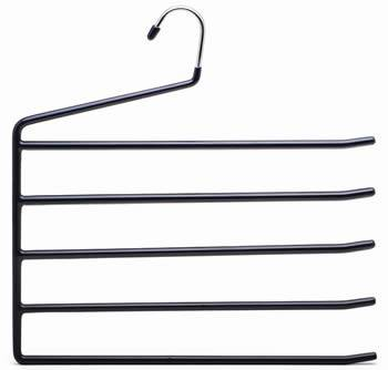 A black PVC coated pants hanger with five tiers and a polished chrome hook