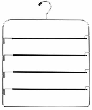 A pants hanger with polished chrome frame and four blue PVC coated bars
