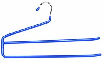 A two tiers pants hanger with blue PVC coating over its frame