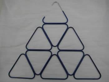 A black PVC coated hanger with 9 triangular holes