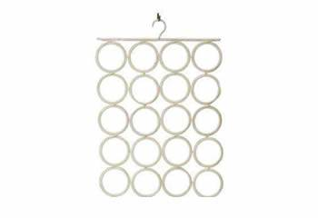 A white PVC coated hanger with 28 holes
